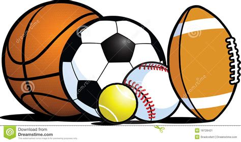 Cartoon Clipart Sports Ball  Pencil And In Color Cartoon