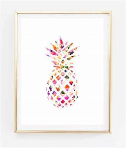 Floral pineapple painting art print room decor typographic