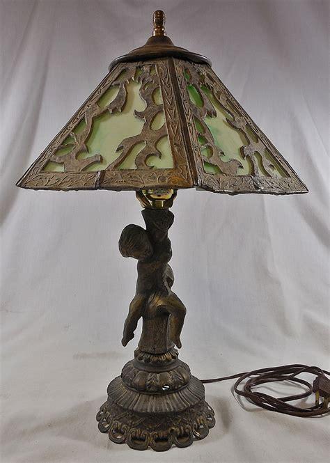 slag glass l shade antique cast metal figural table l w green slag glass