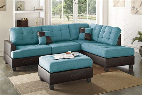 Blue Leather Sectional Sofa And Ottoman Steal A Sofa