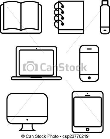 Laptop tablet set vector icon computer book flash phone
