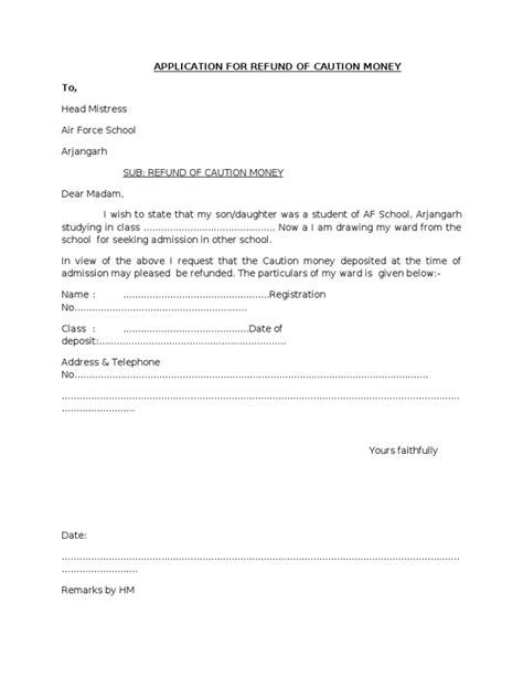 application  refund  caution money