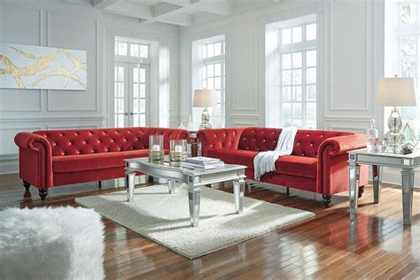 malchin red living room set signature design furniture cart