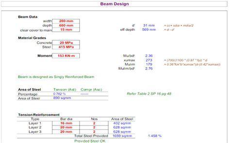 RCC Design Excel Sheet Download   RCC Building Design XLS
