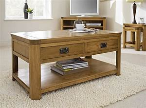 London Oak Coffee Table With Drawers Coffee Tables