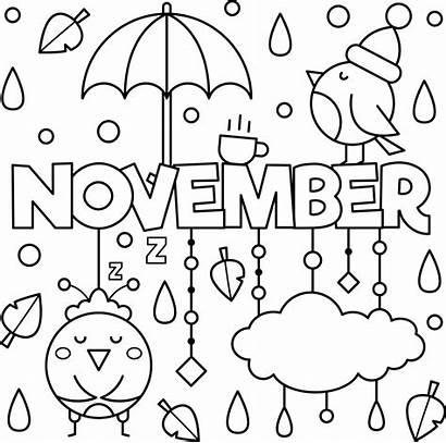 November Coloring Colouring Sheets Kindergarten Printable Month