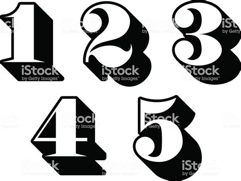 Black And White Numbers Digits 1 2 3 4 5 Stock Vector Art
