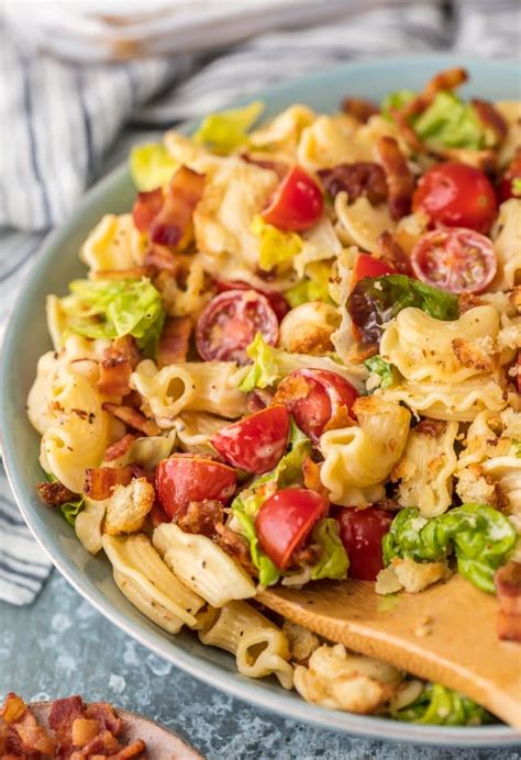 Find an easy pasta salad recipe for your picnic or potluck. BLT Pasta Salad Recipe - The Cookie Rookie® - Cravings Happen