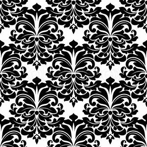 Black and white damask seamless pattern for background ...