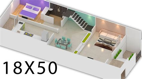 18X50 House plan 900 sq ft house 3d view by nikshail YouTube