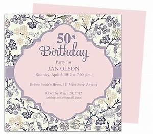 Beautiful and elegant 50th birthday party invitations for Template for 50th birthday invitations free printable