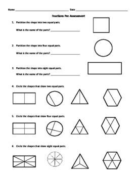 grade fractions pre assessment  turtle teachers