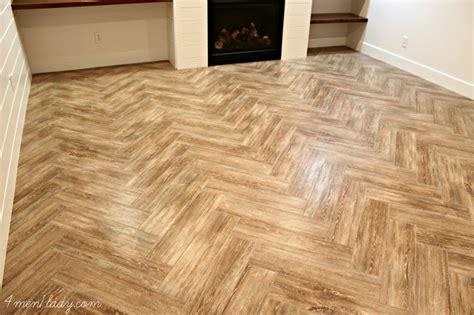 faux wood tile floors basement family room progress