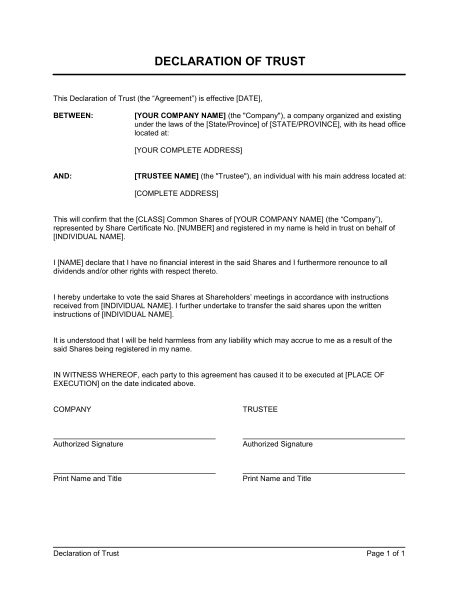 Declaration Document Template by Declaration Of Trust Template Sle Form Biztree