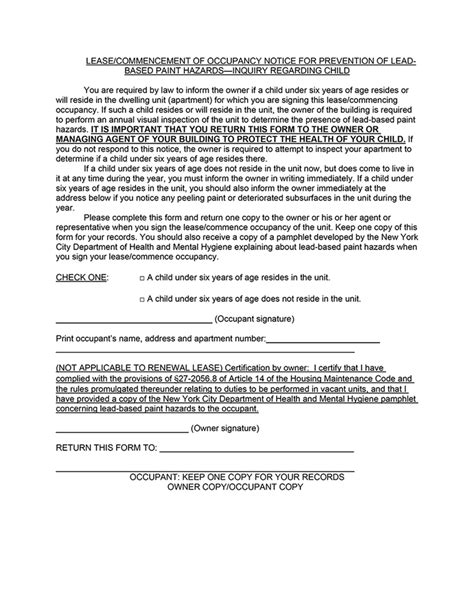 nyc lead paint disclosure form nyc child notice for lead paint compliance ez landlord forms