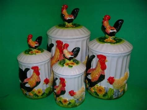 rooster kitchen canisters rooster themed kitchen