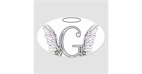 letter  initial monogram  angel wings halo oval sticker zazzlecom