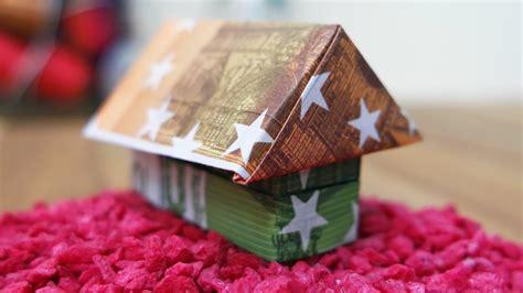 geldscheine falten haus geldgeschenk hauseinzug