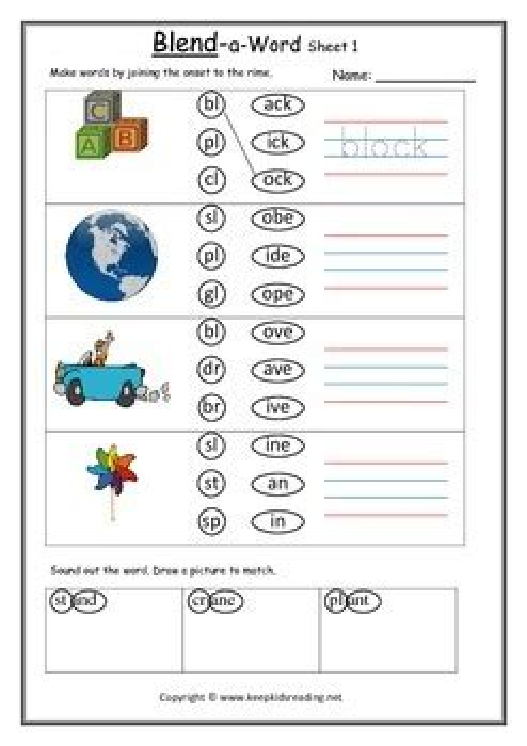 blending sounds onset  rime match   kids reading