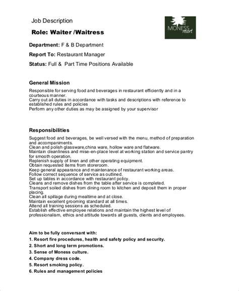 Wait Staff Resume Description by Waitress Description