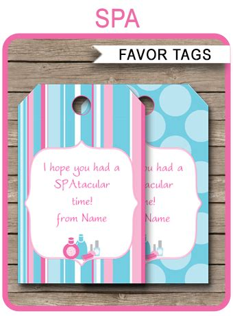spa party favor tags template   tags