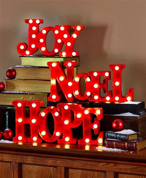bold lighted words joy noel  hope marquee sign christmas