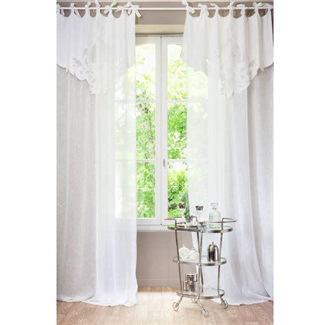 voilage chambre bébé garçon rideau à nouettes en blanc 140 x 300 cm
