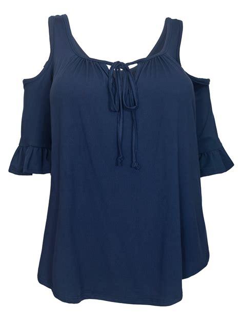 half sleeve blouse 39 s half sleeve cold shoulder blouse navy evogues