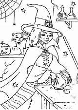 Coloring Crystal Ball Witch Wicked Touch Designlooter Tocolor sketch template