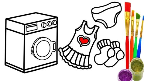 Baby Washing Machine And Clothes Children Coloring Book