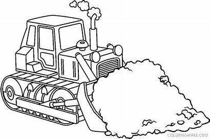 Coloring Construction Pages Equipment Bulldozer Crane Drawing