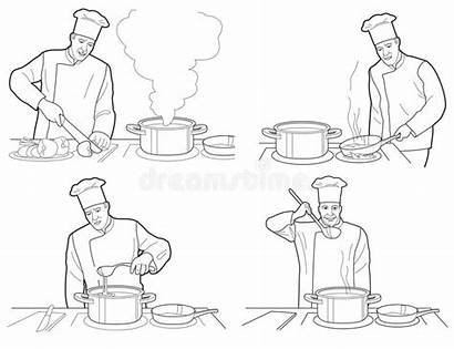 Chef Cuoco Unico Nero Illustrazione Restaurant German