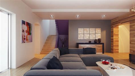 Feature Walls Living Room : Living Modern With Nature Tones & Color Blasts