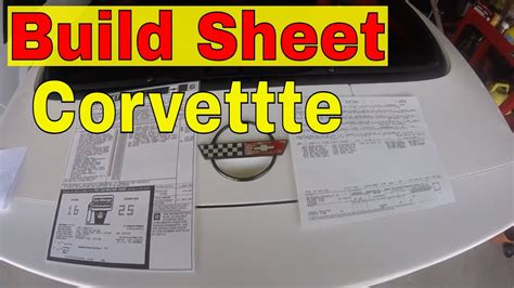 corvette build sheet window sticker