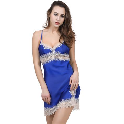 baju tidur transparan solid satin chiffon nightgown lace element mini