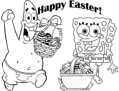 Happy Easter Day Spongebob And Patrick Star Coloring Page