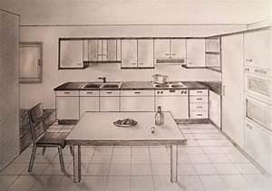 Kitchen By 1 Point Perspective Drawing - Great Drawing