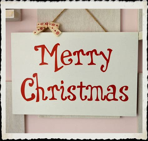 handmade merry christmas wooden plaque typography sign