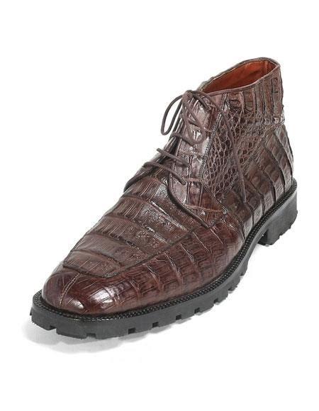 Los Altos Men Brown Stylish Genuine Caiman Crocodile