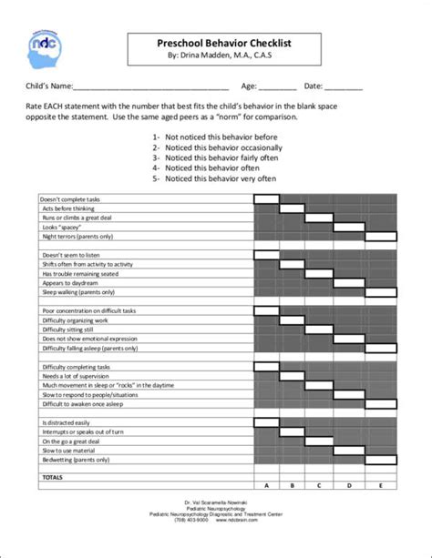 16 behavior checklist samples amp templates free pdf 630 | Preschool Behavior Checklist