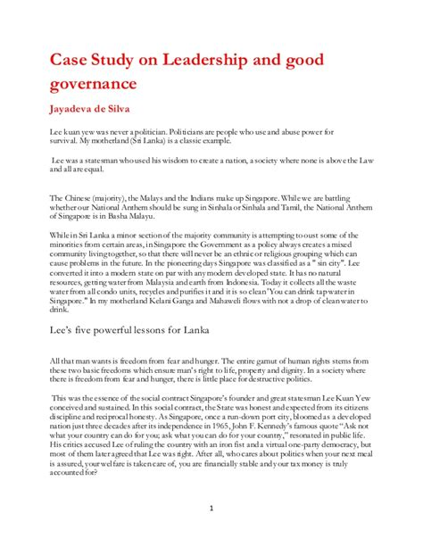 leadership  good governance case study