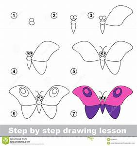 Drawing Tutorial. How To Draw A Butterfly Stock Vector ...