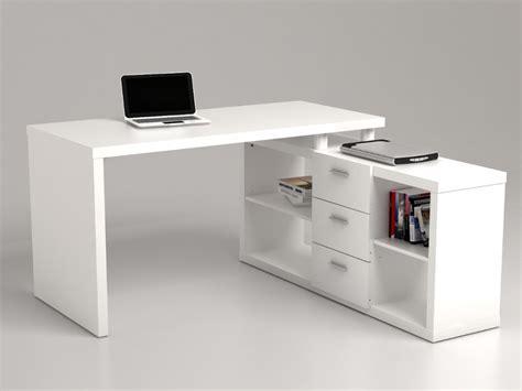 bureau d angle blanc pas cher bureau d 39 angle aldric iii 3 tiroirs 2 étagères blanc