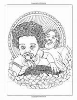 Coloring Adult Natural Curls Buster Celebrating sketch template