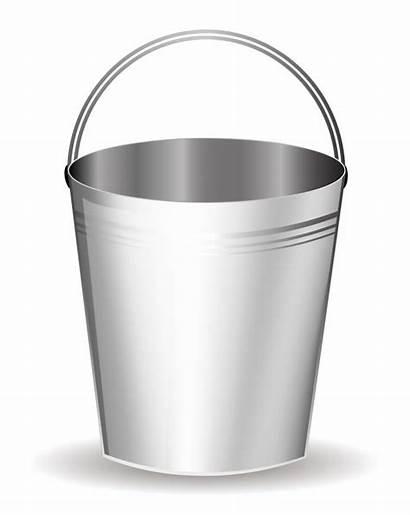 Bucket Clipart Clip Metal Vector Silver Cliparts