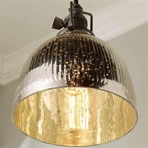 Ribbed, Dome, Mercury, Glass, Shade, Pendant, Light