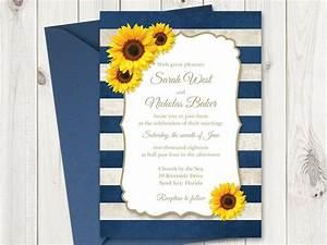 sunflower wedding invitation printable template with navy With wedding invitation templates with sunflowers