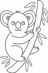 Koala Coloring Clip Clipart Bear Animals Drawing Cartoon Outline Cliparts Colouring Koalas Illustration Line Animal Tree Colorable Library Pngkey Bears sketch template
