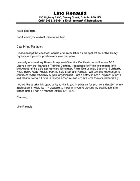 lino renaud construction acz machine operator cover letter and res