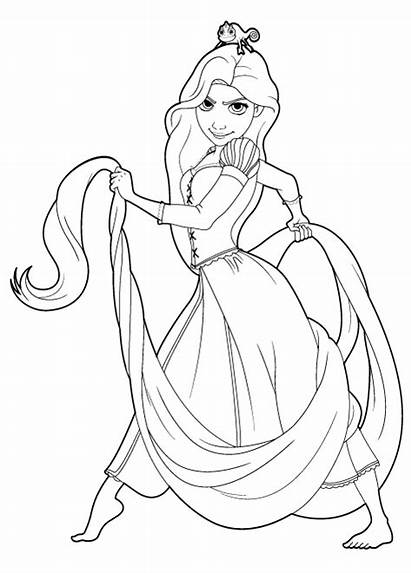 Coloring Tangled Pages Rapunzel Pascal Disney Printable
